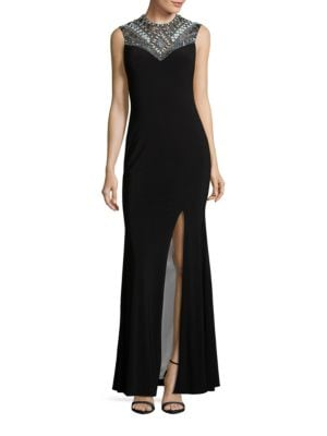 Beaded and Sequined Sheath Gown by Betsy & Adam