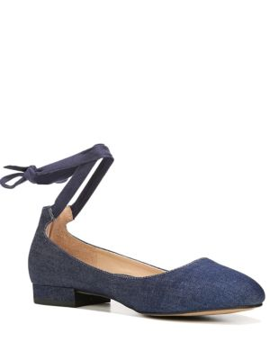 Becca Ankle-Wrapped Denim Ballet Flats by Franco Sarto