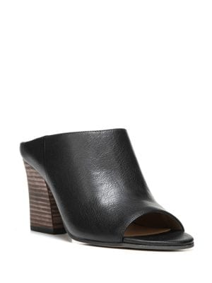 Firefly Leather Stacked Heel Mules by Franco Sarto