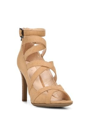 Quincey Strappy Stacked Heel Sandals by Franco Sarto