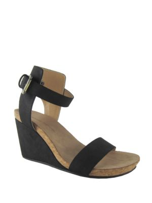 Ted Suede Wedge Sandals by Adrienne Vittadini