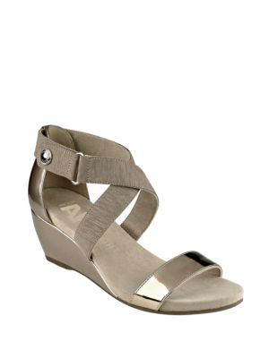 Crisscross Ankle Strap Wedge Heel Sandals by Anne Klein
