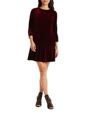 Pleated Drop Waist Velvet Dress by Donna Morgan