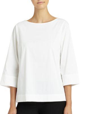 Aubrianna Italian Stretch Cotton Blouse by Lafayette 148 New York