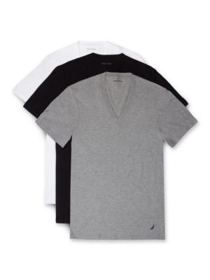 Cotton Solid V-Neck Tee- Set of 3 by Nautica