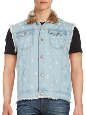 Faux Fur Denim Vest @...