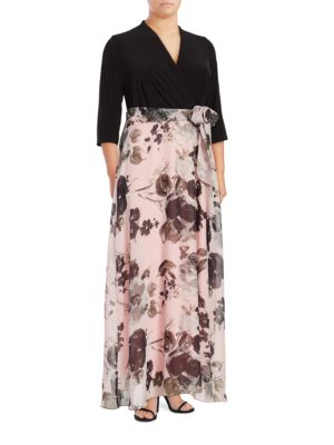 Floral Contrast Maxi Dress by Chetta B