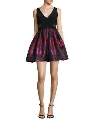 Floral Jacquard Sleeveless Fit-and-Flare Dress by Xscape