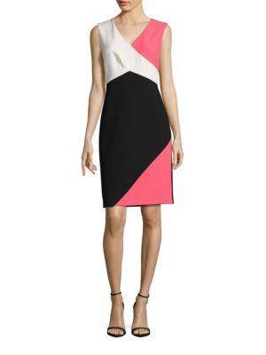 Sleeveless Colorblocked Sheath Dress by Ellen Tracy