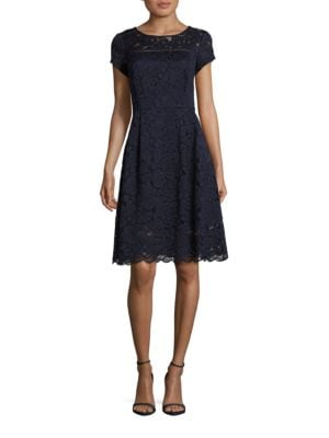 Short Sleeve Lace Fit-and-Flare Dress by Ellen Tracy