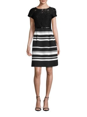 Short Sleeve Striped and Lace Fit-and-Flare Dress by Ellen Tracy