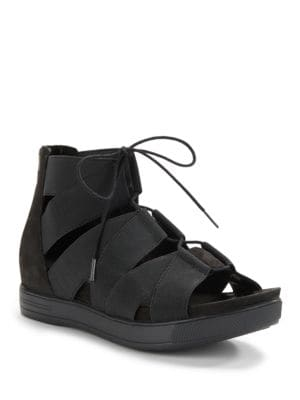 Link Stretchy Straps and Leather Lace-Up Sandals by Eileen Fisher