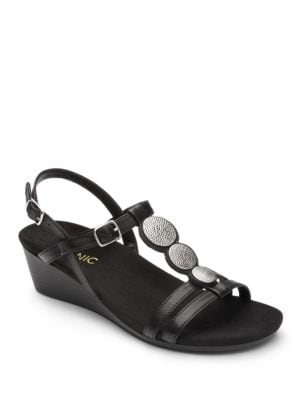 Noleen Leather Wedged Sandals by Vionic