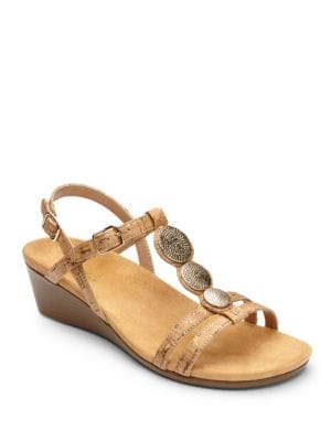 Noleen Metallic Cork Wedged Sandals by Vionic