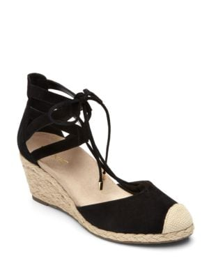 Cap Toe Suede Wedge Espadrilles by Vionic