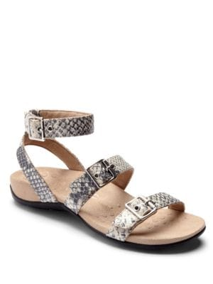 Sahara Leather Triple Buckle Sandals by Vionic