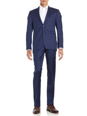 Pinstriped Slim Fit Suit...