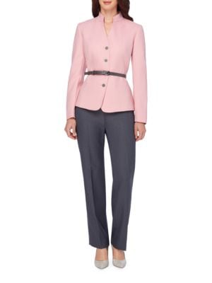 Belted Jacket and Pant Suit by Tahari Arthur S. Levine