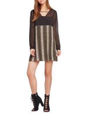 Long-Sleeve Snake Printed Dress by BCBGeneration