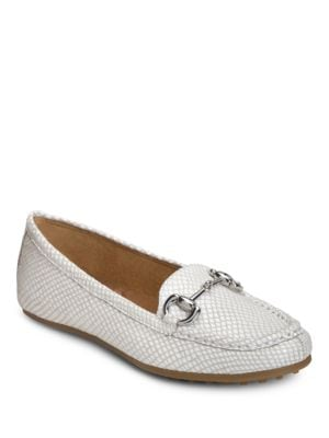Drive Through Embossed Split Toe Penny Loafers by Aerosoles