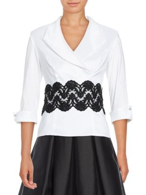 Three-Quarter Sleeved Lace-Accented Top by Alex Evenings