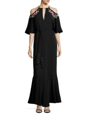 Lyon Embellished Cold-Shoulder Gown by Rachel Zoe