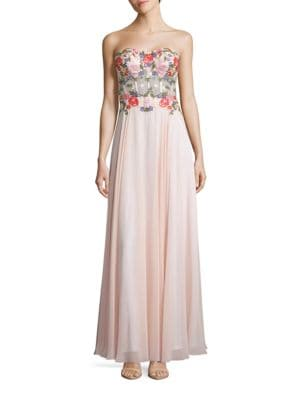 Embroidered Sweetheart-Neck Gown by Xscape