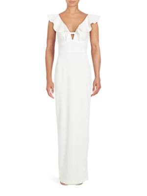 Solid Ruffled V-Neck Gown by Xscape