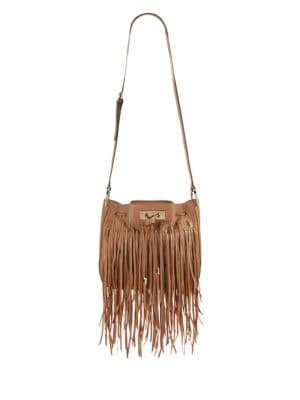 Fringed Leather Crossbody by Calvin Klein