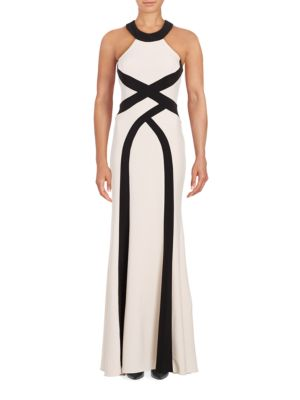 Crewneck Geo Striped Cutout Back Gown by Xscape