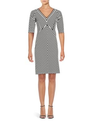 Striped Print Ottoman Fit Dress by Adrianna Papell