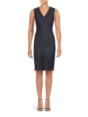 Embroidered Sleeveless Sheath Dress by Calvin Klein