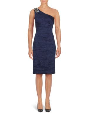 Solid Ruched One Shoulder Sheath Dress by Eliza J