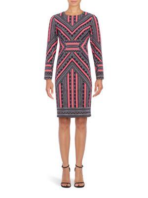Long Sleeve Geometric Sheath Dress by Vince Camuto