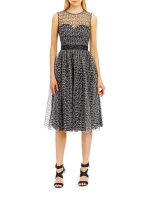 Sleeveless Lace Illusion Fit and Flare Dress by Nicole Miller New York