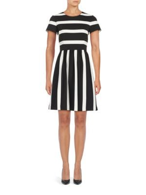 Striped Short-Sleeve Dress by Eliza J