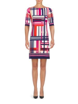 Three Quarter Sleeve Plaid Sheath Dress by Eliza J