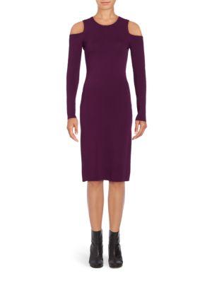 Solid Cold-Shoulder Dress by Nicole Miller