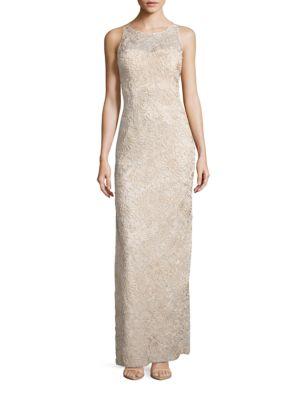 Sleeveless Embroidered Illusion Column Gown by Aidan Aidan Mattox