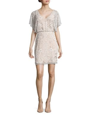 Sequined Flutter Sleeve Dress by Aidan Aidan Mattox