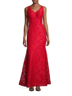 Lace V-Neck Mermaid Gown by Xscape