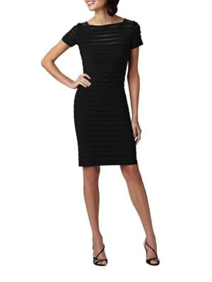 Banded Illusion Mesh Dress by Adrianna Papell