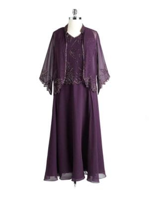Plus Size Beaded Evening Dress With Jacket by J Kara