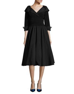 Elbow Sleeve Cross Front Dress by Eliza J