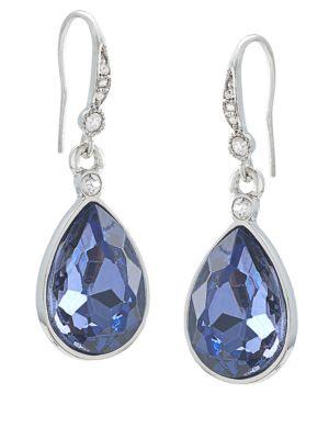 Silvertone and Royal Blue Teardrop Earrings 500060922010
