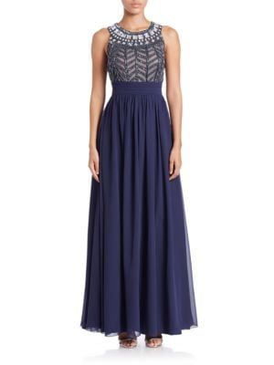 Cage Top Chiffon Gown by JS Collections