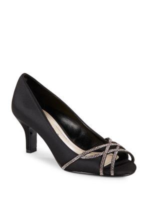Eliza Rhinestone Metallic Open-Toe High Heels by Caparros