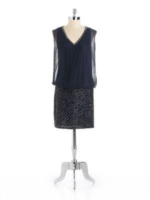 Beaded V Neck Blouson Dress by J Kara