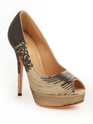 Sequined Platform Pumps by Sebastian