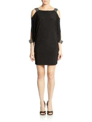 Embellished Cold Shoulder Blouson Dress by Betsy & Adam